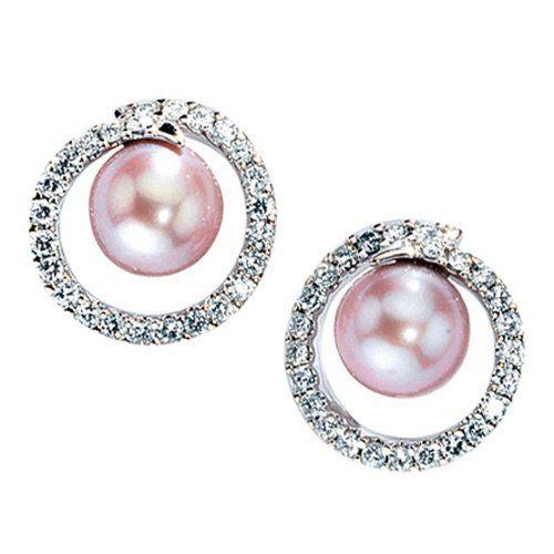 Damen-Stecker 50 Diamant-Brillanten 14 Karat (585) Weißgold Süßwasser-Zuchtperle 0.88 ct. Dreambase, http://www.amazon.de/dp/B0097PE9BK/ref=cm_sw_r_pi_dp_XoYPsb1YKQ8AB