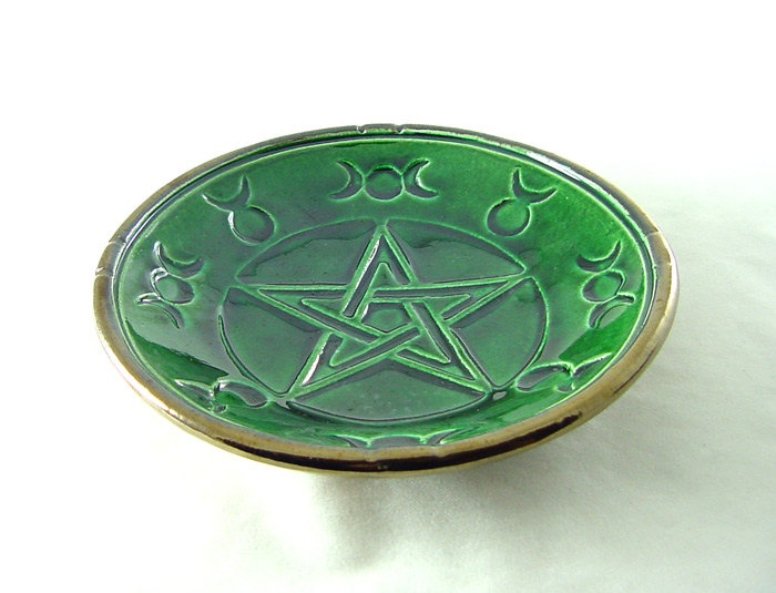 Pentagram Triple Moon  Offering Bowl Handmade Raku Pottery. $19.75, via Etsy.