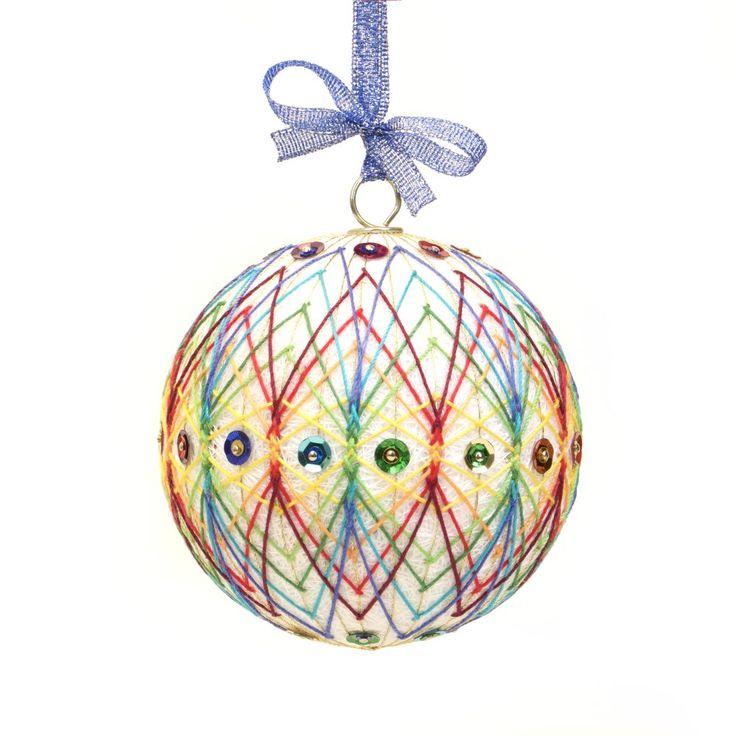 WHITE KALEIDOSCOPE Christmas Ornament inspired on Japanese art Temari. Hand Made by JoeyART