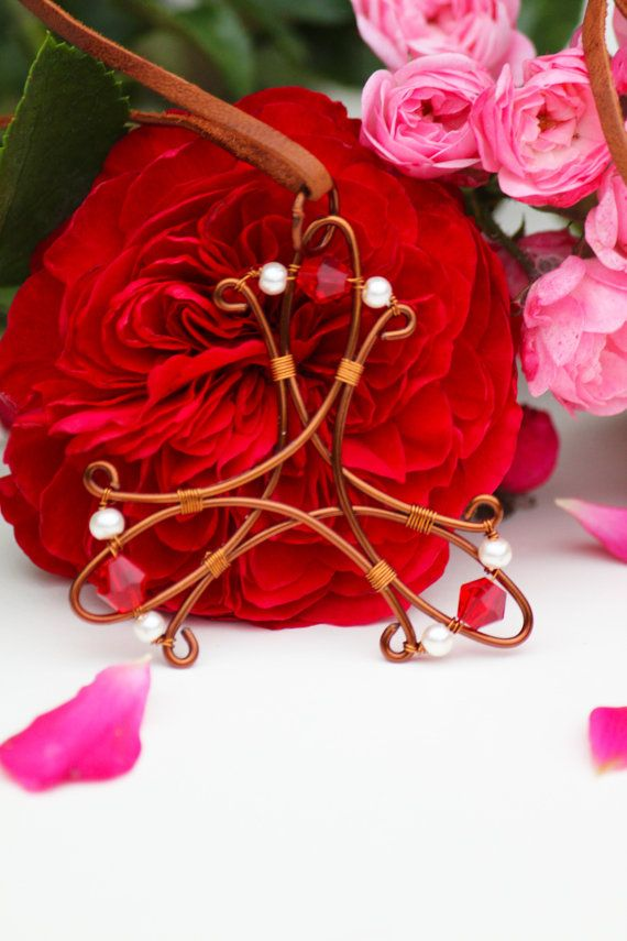 Celtic copper wire necklace pendant with red by DeaJewelryStore