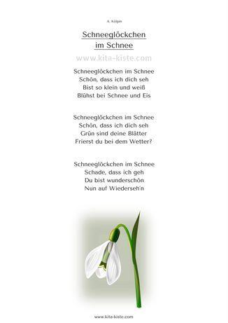 """Gedicht Winter Kinder """"Schneeglöckchen im Schnee"""" kita-kiste"""