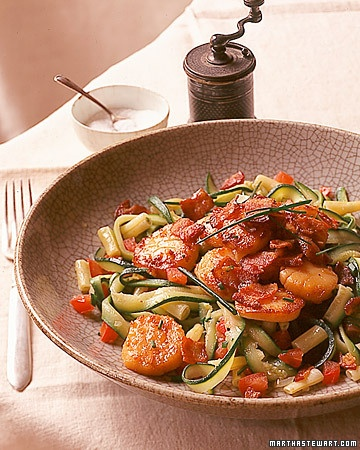 Seared Scallops Menu: Serves 4    Bacon and scallops are a classic combination. Here, the smoky-and-sweet pairing is used as a savory topping for sauteed zucchini and wax beans.    salad  Mixed Greens with Mango Vinaigrette  main  Seared Scallops with Bacon  side  Ribbon Zucchini with Yellow Wax Beans  dessert  Coconut Tapioca Pudding