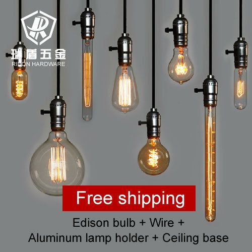 Vintage antique wholeset with edison bulb lamp holder wire ceiling base bar shop pendant lighting inpendant lig