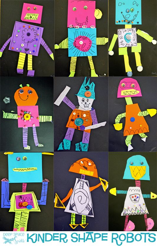 kids use colored paper to cut out shapes and make a robot. Robot art project for kids.