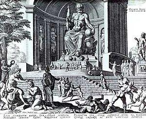 Grabado de la estatua de Zeus en Olimpia. Los pintores griegos trabajaron generalmente sobre paneles de madera, que se estropeaban rápidamente (a partir del siglo IV a. C.), cuando no eran bien protegidas. Hoy en día no queda casi ninguna pieza de pintura griega, excepto algunos restos de pinturas en terracota y de algunas pinturas en las paredes de tumbas, sobre todo en Macedonia e Italia.