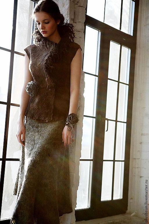 Купить Валяный жилет «Дикарка» - коричневый, валяный жилет, войлочный жилет, ирина демченко
