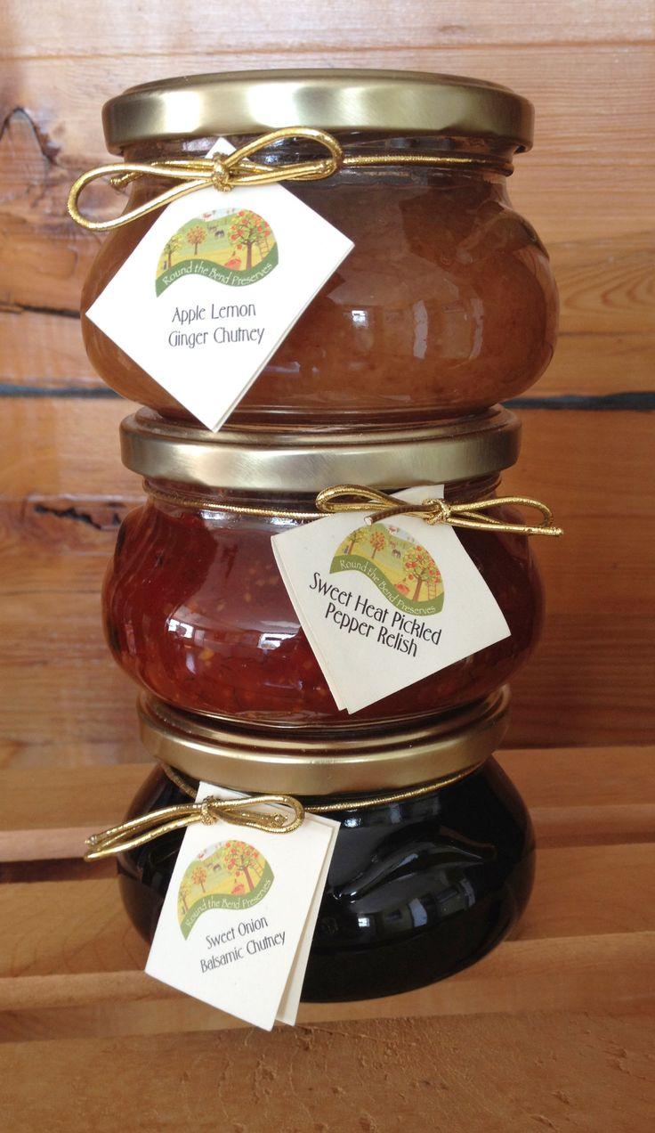Apple Ginger Chutney, Sweet Heat Pickled Pepper Relish, Sweet Onion Balsamic Chutney