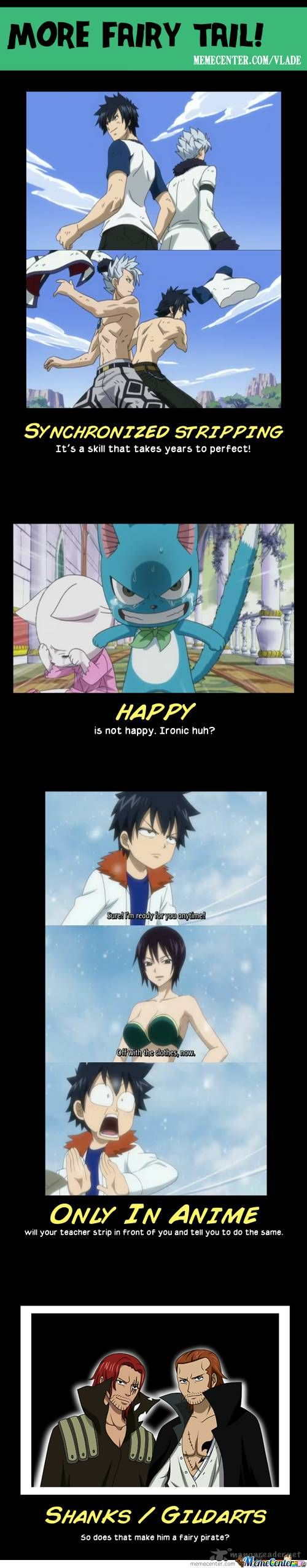 """XD """"Only in anime will your take strip in front of you and tell you to do the same"""" So Truuueeee!!!"""