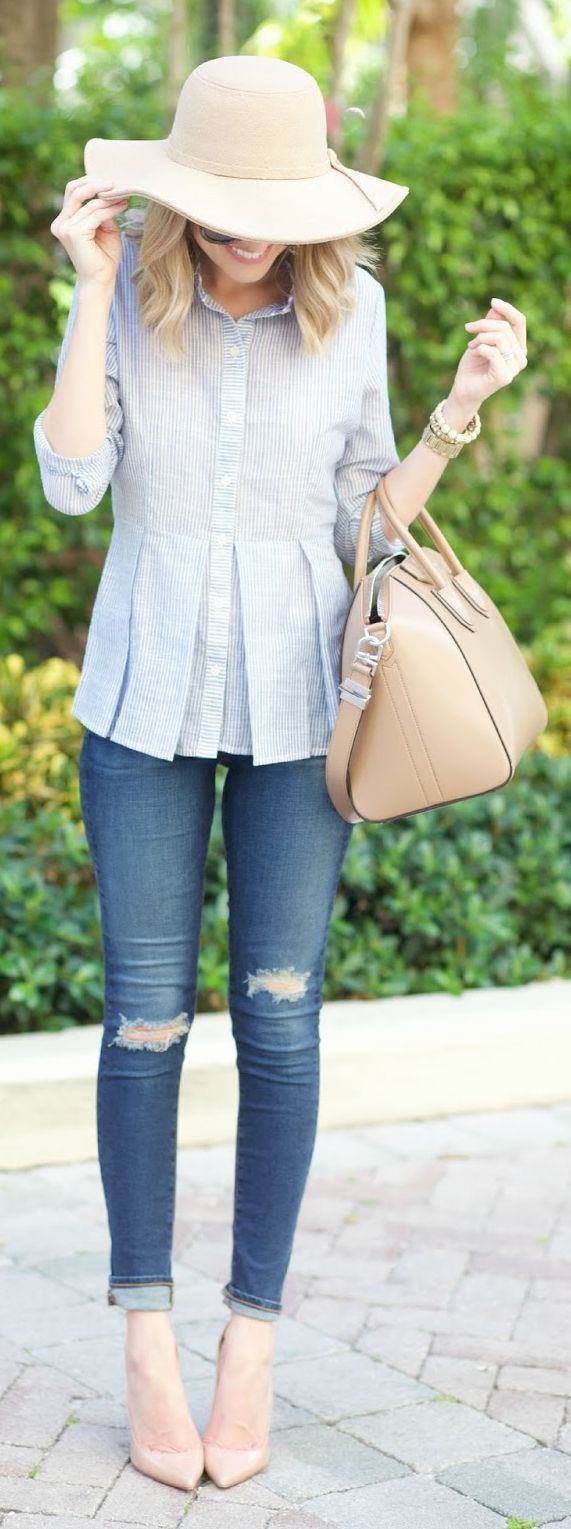 Button-up Peplum Outfit Idea by A spoonful of Style