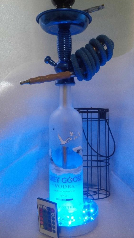 Hookah Bottle With LED Light Base 6 Inch.with Included Remote Control And  Cage.