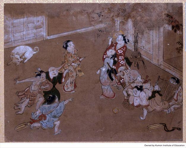童子遊興之図 〈正月 羽根つき〉|くもん子ども浮世絵ミュージアム