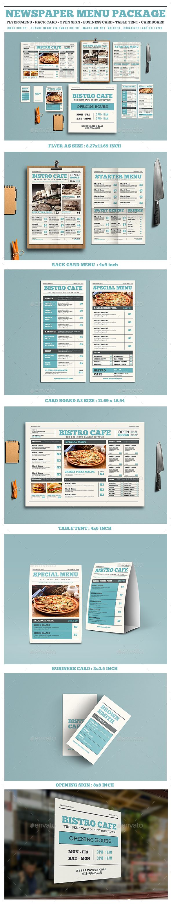 Newspaper Style Menu Package - Food Menus Print Templates