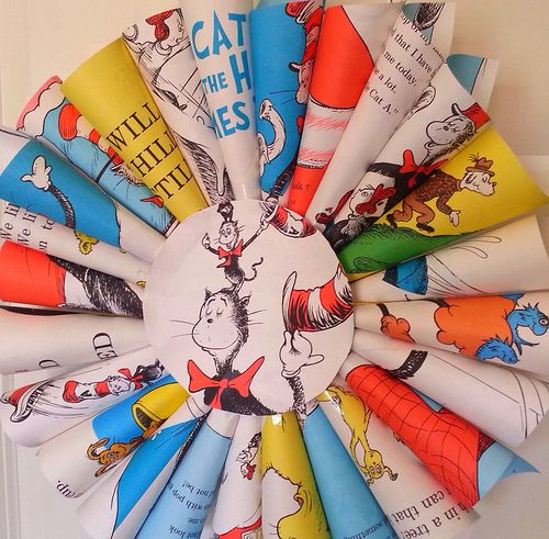 Dr. Suess book wreath tutorial I am doing this since mckenna's room is going to be storybook theme :)