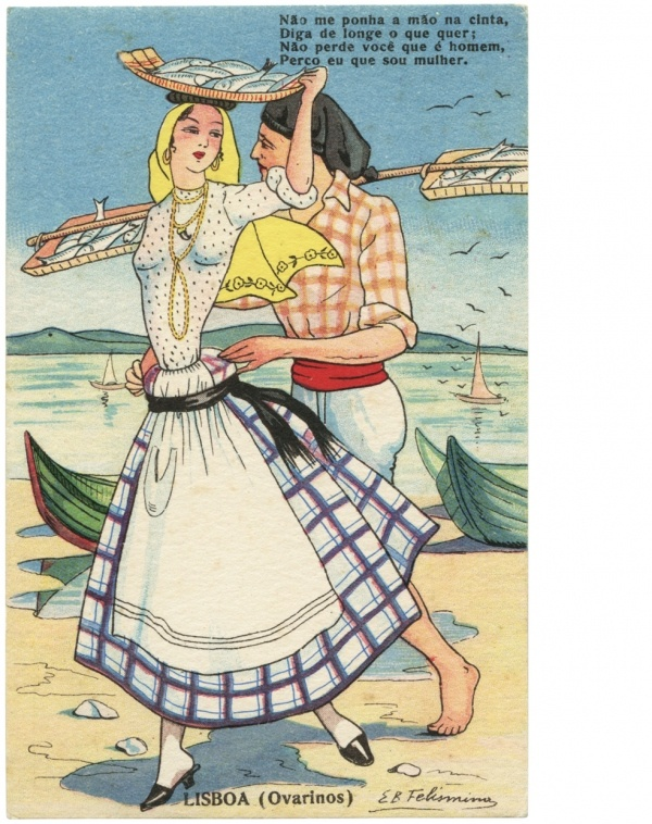Elisa Bermudez Felismino illustration for portuguese postcards in the 1940's