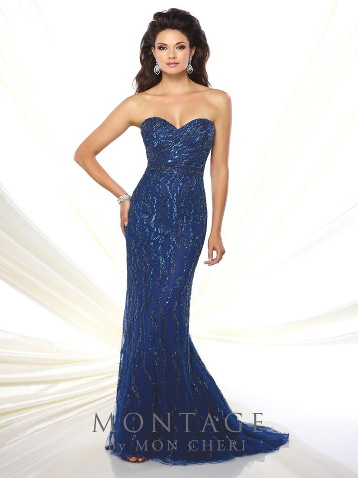 Montage by Mon Cheri - 116934 - Strapless sweetheart hand-beaded tulle sheath with beaded natural waist, sweep train. Matching shawl and removable straps included.Sizes: 4 - 20Colors: Navy Blue, Hunter Green, Silver