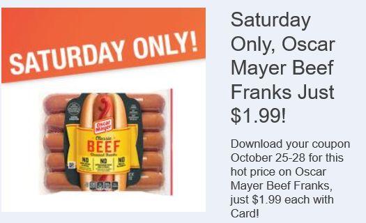 Oscar Mayer Beef Franks for $1.99 at Kroger on 10/28 Only! Kroger 5x's Digital Coupon