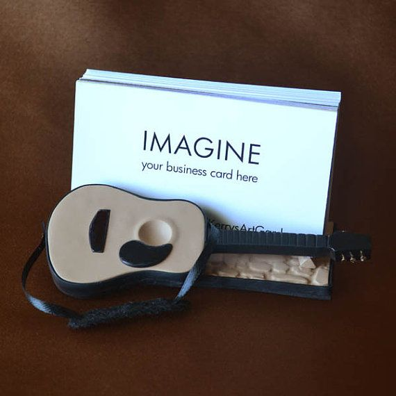 Accoustic Guitar Polymer Clay Business Card Holder via Etsy