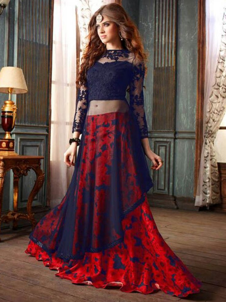 Red with blue color net designer anarkali salwar suit. #Anarkali #RedBlue