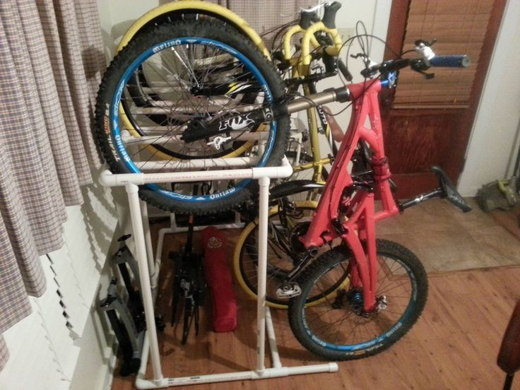 Maybe do a taller and thinner version of this for my  bike to fit in my storage closet. I love the whole role up concept to it. PVC bike storage rack