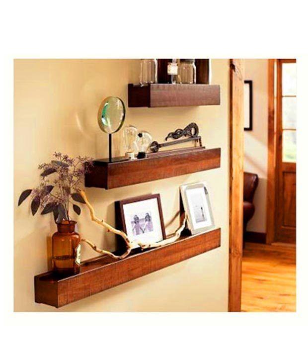 1.5k Home Sparkle Mango Wood Wall Shelves SET OF 3 | EBay