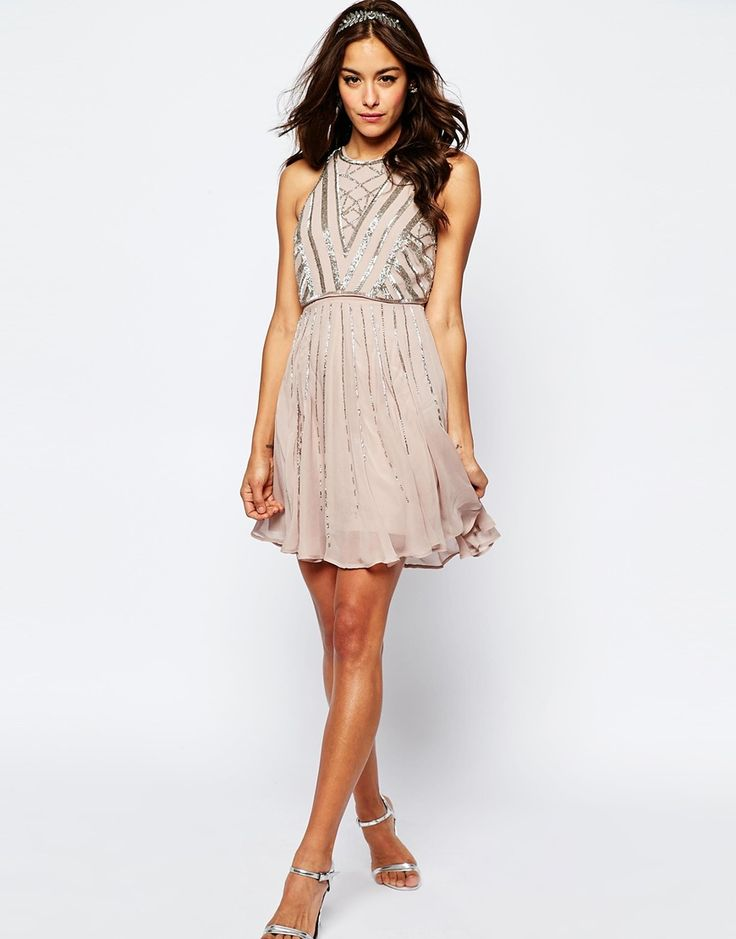 ASOS+WEDDING+Crop+Top+Embellished+Mini+Dress