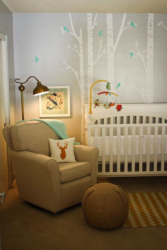 Love this woodland nursery. I always love the birch trees on the walls. Just don't know how I could pull them off without wall decals...