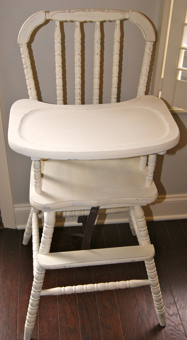 Painted wooden high chair - Shabby Chic Vintage High Chair