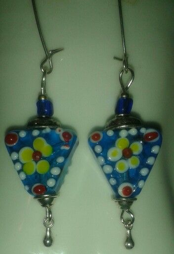 Old  Lampwork beads and silver800 long  earings