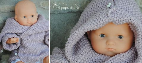 """Hooded knit sweater for babies handmade by Atelier Faggi -  Maglioncino versione bimba in rosa antico con bottoncini sul cappuccio che permettono di aprirlo in modo da poterlo portare anche come collo ampio... by """"à propos de..."""" Atelier Faggi."""