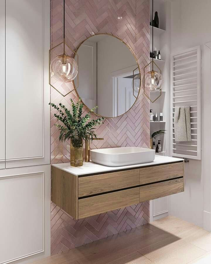 Pink Tiles Pinterest Alinevdoever Bathroom Interior Design Pink Bathroom Tiles Bathroom Interior