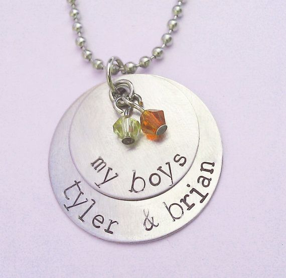 My Boys Necklace, Personalized Family Necklace with Kids Names and Birthstones, Custom Necklace for Mom of Boys - Family Necklace