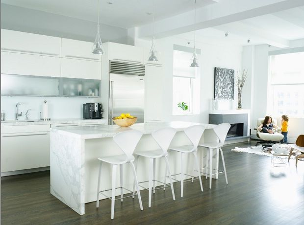 white kitchen with marble of Lew Loft with dark color floor