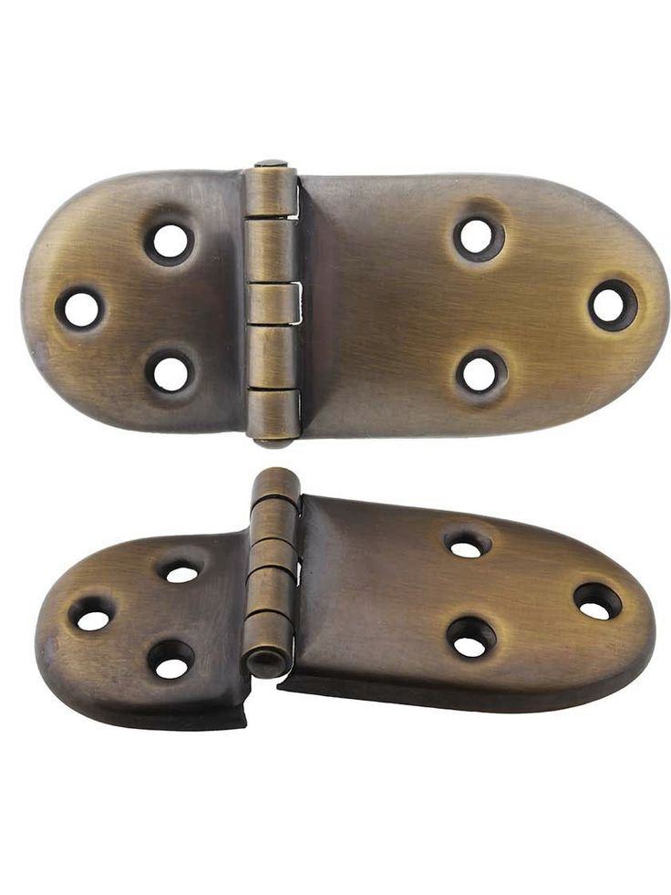 """Pair of Solid Brass Ice-Box Hinges in Antique-By-Hand - 1 5/8"""" x 4 1/8"""" 