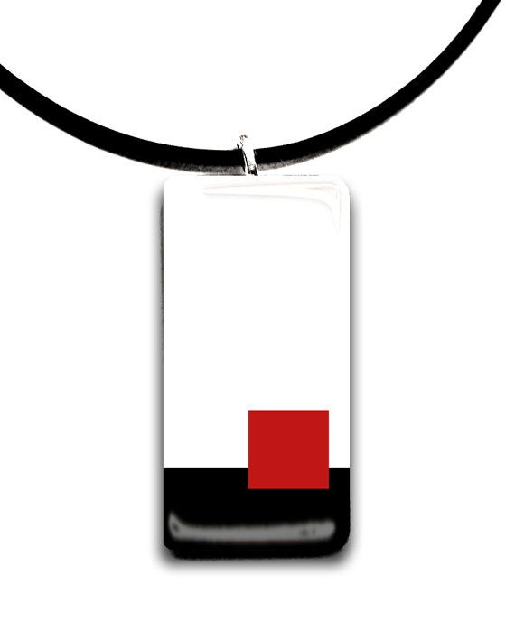 Minimal Red and black  Rectangle glass tile by StedmanStudio