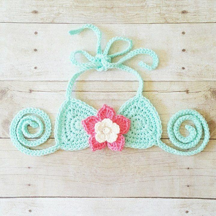 Crochet Bikini Top Bathingsuit Swimsuit Flower Handmade Baby Toddler Child…