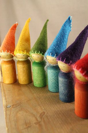 Waldorf-inspired peg gnomes - rainbow collection by Lavender Chickadees.