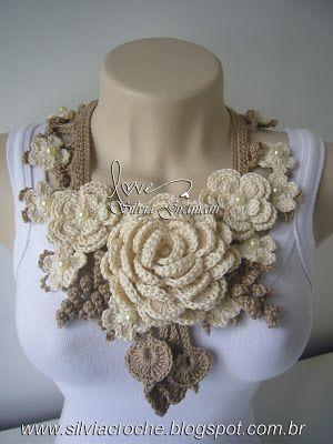 colar nude, nude, colar de croche, colar feminino, flores de croche,