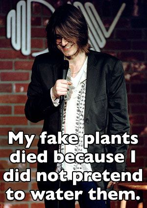 My fake plants died because I did not pretend to water them.  Mitch Hedberg