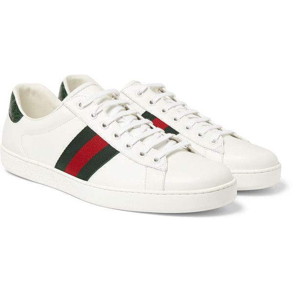 Gucci Crocodile-Trimmed Leather Sneakers ($490) ❤ liked on Polyvore featuring men's fashion, men's shoes, men's sneakers, mens white tennis shoes, mens leather tennis shoes, mens white shoes, mens leather shoes and mens tennis shoes