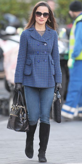 Pippa Middleton - black Russell and Bromley boots and Goldsign jeans