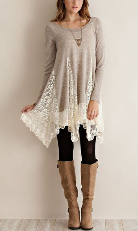 Trendy Scoop Collar Long Sleeve Lace Splicing Asymmetrical Women's Dress