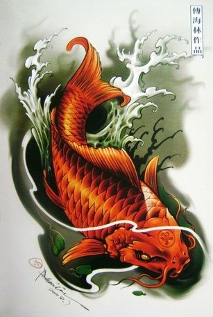 Folk art fish jumping out of water google search art for Koi fish water