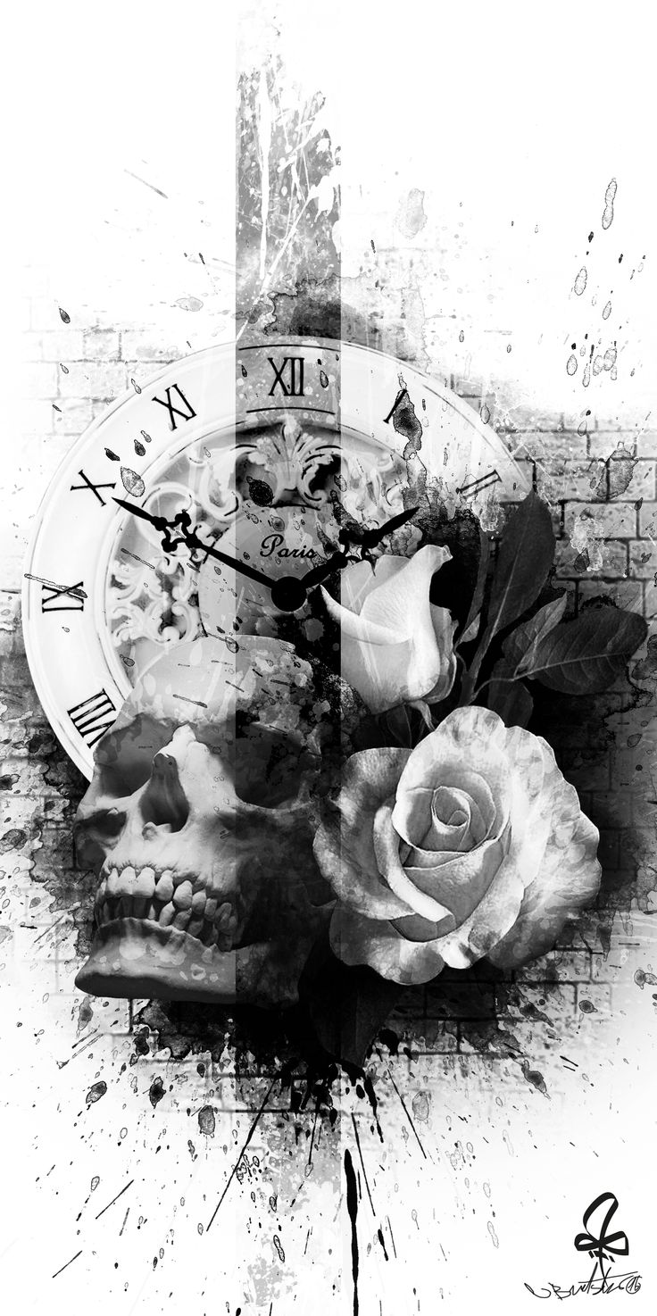 Tattoo, Photoshop, skull, Watch, rose, Burtscher N.