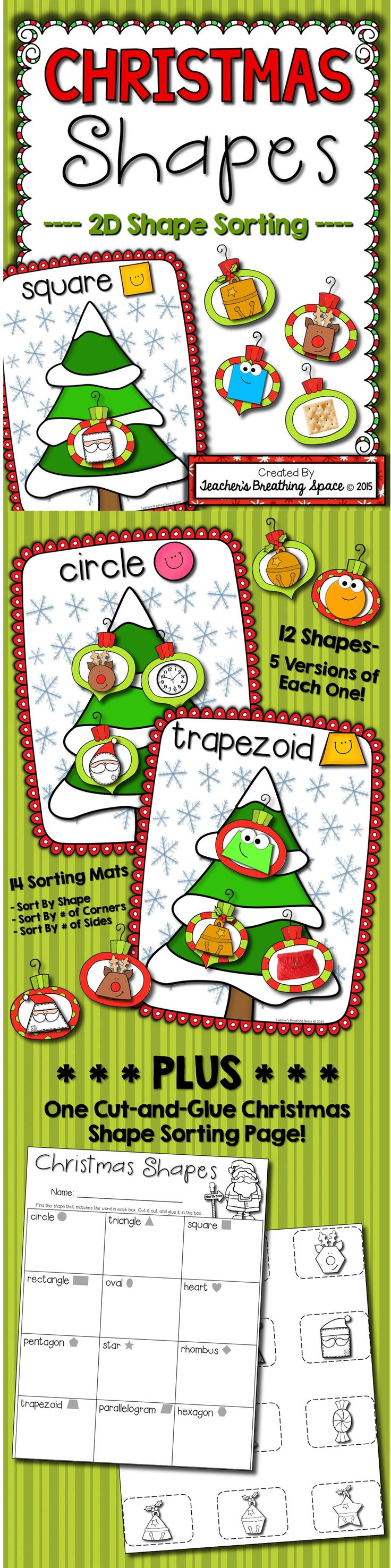Christmas Shape Sorting --- Sorting 2D Plane Shapes! This set includes a Christmas-themed shape sorting math center (circles, squares, triangles, rectangles, ovals, hearts, stars, pentagons, hexagons, parallelograms, trapezoids and rhombuses) and one cut-and-glue practice page.