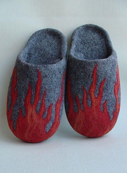 """Валяные тапочки """"Dancing flames"""" - валяные тапочки,домашние тапочки,войлочные тапочки"""