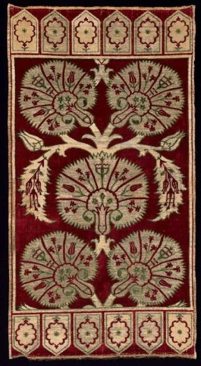 17th Century ottoman yastik (pillow cover) • carnations, tulips and hyacinths on silk with metal brocade