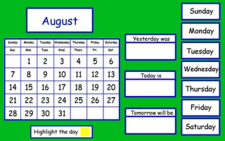 Great ideas for early elementary calendar flipcharts. Promethean board...this is a first grade calendar. It would be great to create a 2nd grade version.