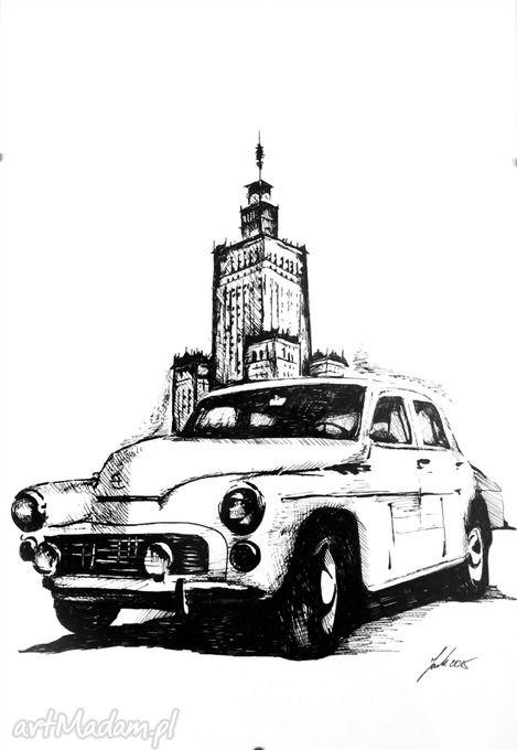 Rysunek Warszawa samochód pkin grafika obrazy homeart cienkopis dekoracja do domu