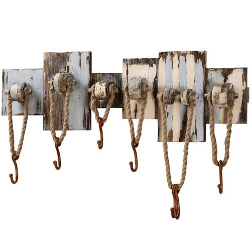 Rustic Nautical Rope Hooks POOL HOUSE hat coat TOWEL HOLDER 7 WALL HOOK RACK new