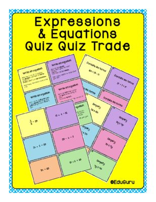 Expressions and Equations Quiz Quiz Trade Game from EduGuru on TeachersNotebook.com -  (16 pages)  - Expressions and Equations Quiz Quiz Trade Game is a WINNER! 84 cards (42 question and 42 answer cards). The purpose of the game is to practice writing equations, simplify expressions and combine like